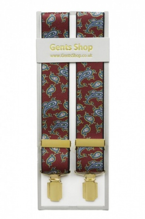 Burgundy Wine Mens Trouser Braces with Large Paisley Design - Available in 3 Sizes